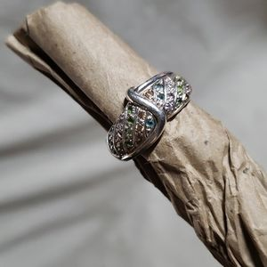 .925 Silver and Pave crystal ring